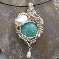 Blue Stone Wire Wrapped Pendant, Amazonite in Sterling Silver