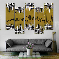 """Original abstract painting. 41x64"""" 5 piece canvas art. New York skyline. Metallic gold painting. Modern wall art with black and white."""
