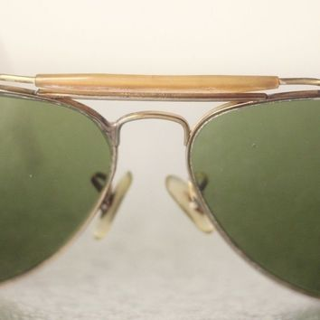 RAY-BAN B&L VINTAGE GOLD COLOURED METAL SUNGLASSES FOR MEN-USED-AGED