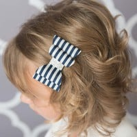 navy stripe hair bow