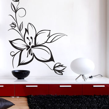 Vinyl Wall Decal Sticker Sketchy Flower #1020