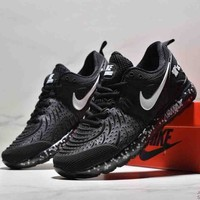 NIKE AIR MAX New Tide brand rear half palm cushion breathable wear-resistant shock absorption running shoes Black