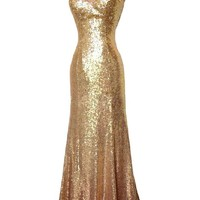 Sunvary Gold Jewel Mermiad Sequin Prom Dance Dress for Mother of the Bride Evening Bridesmaid Gowns Pageant Party Dress- US Size 12- Gold