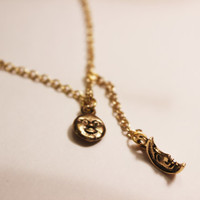 Moon and Sun Face Charm Gold Necklace