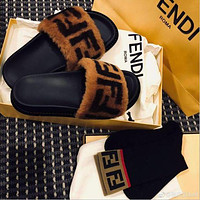 FENDI Hot Sale Popular Women Fur FF Embroidery Canvas Sandal Slippers Shoes