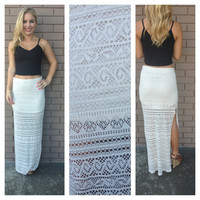 Oatmeal Lace Boho Maxi Slit Skirt