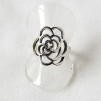 925 sterling silver Cut Out Rose Flower Ring, flower rose statement ri