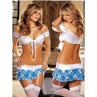 Intimate Sexy White Bar And Blue Short Dress Lycra Costume - Sexy Costumes - Sexy Lingerie