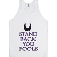 stand back you fools maleficent purple tank top-Unisex White Tank