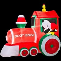 SheilaShrubs.com: Train with Snoopy and Woodstock Scene - Peanuts 86159 by Gemmy Industries: Christmas Outdoor Decor