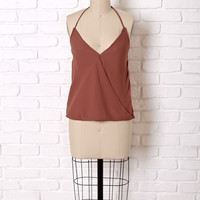 Wrap Front Halter Top in Rust by NRFB