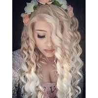 Long Light Golden To White Ombre Curly Synthetic Lace Front Wig