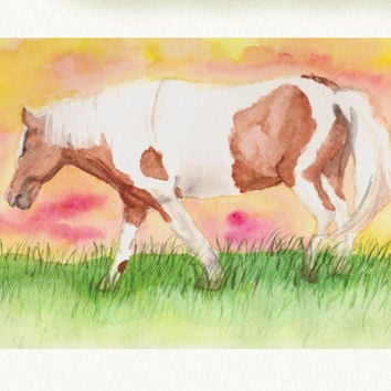 Horse Watercolor Painting , Country home decor , horse art , Samiamart