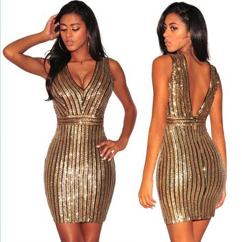 DeepV Back Sequins Gold Party Dress