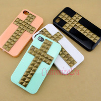 Studded cross iPhone 4 case, vintage bronze pyrmaid studs iPhone 4S case, iphone 4 studded case, uniqe custom iPhone case cover