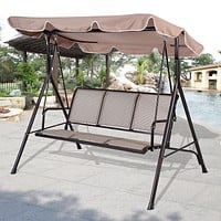 Outdoor Patio Furniture Porch Canopy Swing in Beige