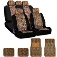 New and Unique YupbizAuto brand Safari Cheetah Print Universal Size Car Truck SUV Seat Covers and Floor Mats Set Velour and Mesh Material Gift Set Smart Pocket Feature