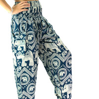 Thai Boho Harem Pants/ Hippie Pants/  Yoga Pants women green