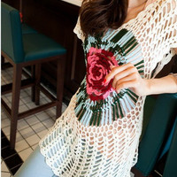 Hairpin Crochet Floral Pattern womens lace blouse fashion top summer beach cover up