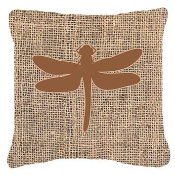 Dragonfly Burlap and Brown   Canvas Fabric Decorative Pillow BB1062