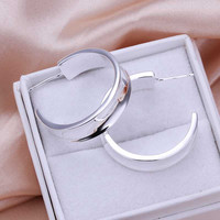 half Round stud Earings silver plated jewelry earrings silver plated earrings  78