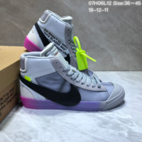 DCCK3 N697 Off White x Nike Blazer High All Hallows Eve Skate Shoes Grey Black Purple
