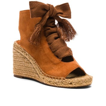 Chloe Suede Harper Lace Up Espadrilles in Reef Shell | FWRD
