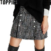 2017 Autumn Fashion Women A-Line Tweed Skirt with Pearl Beading Winter Mini Plaid Skirts High Waist Elegant Vintage Skirt