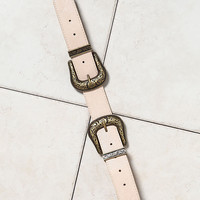 Nude Leatherette Double Buckle Belt