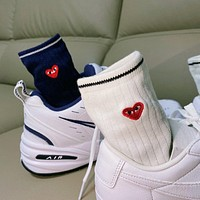 """""""Comme des Garçons PLAY"""" Unisex Couple All-match Cotton Simple Love Heart Embroidery Semi-High Knee Socks 5 Pairs Set"""