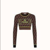 FENDI Women Fashion Long Sleeve Embroidery Top Pullover
