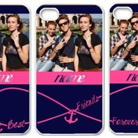Forever Best Friends Anchor iPhone 4 4S Case - Infinity Print iPhone Case - THREE Case Set (white side) (PLEASE send us NAMES and the PHOTO by email)