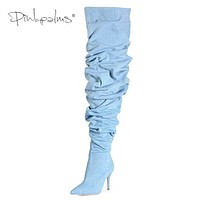 Limited Edition Pink Palms Shoes Women Thigh High Boots Over the Knee Slouch Wrinkle Boots Women High Heels Plaid Boots Denim Macchar Cosplay Catalogue