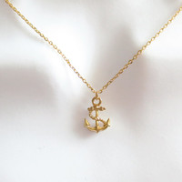 Cute, Tiny, Anchor, Gold, Silver, Necklac, Modern, Marine, Nautical, Dainty, Minimal, Anchor, Necklace, Lovely, Gift, Jewelry