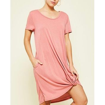 Front Knot Flowy Dress with Pockets in Marsala