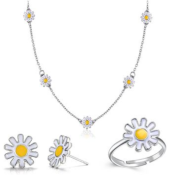 3 Piece Daisy Flower Jewelry Set 18K White Gold Plated Set in 18K