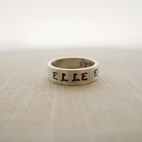 ELLE EST FORTE, She is Strong, Proverbs 31, Hand Stamped Silver Ring, Religious Jewelry, Christian Jewelry, Bible Verse Ring