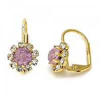 Gold Layered Leverback Earring, Flower Design, with Crystal, Golden Tone