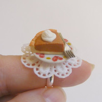 Scented or Unscented Pumpkin Pie Slice Miniature Food Ring - Miniature Food Jewelry