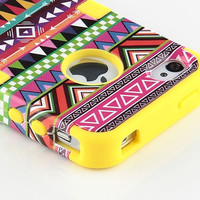 3-Piece Tribal Pattern High Impact Hard Case Cover For iPhone 4 4S 4G + Stylus