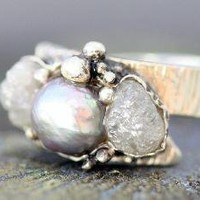 Raw Diamonds and Steel Grey Pearl in Textured by elseetee2 on Etsy