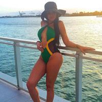 Green And Yellow Mesh Patchwork One Piece Swimsuit B007711