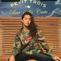 Supreme Camouflage Embroidery Thicken Hoodies [9506643271]
