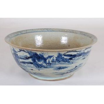 Chinese Canton Bowl in Blue and White