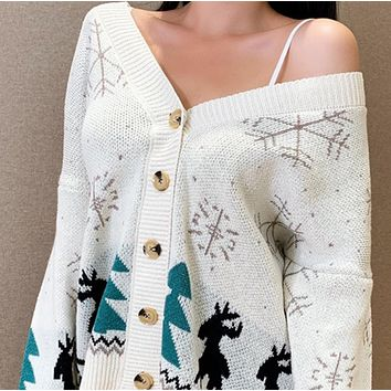New Christmas snowflake pattern knitted cardigan jacket