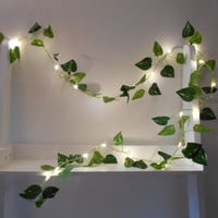 Ivy Leaf Wire Garland With Mini LED -  Fairy String Lights - Battery Operated Indoor Green Leaves Bedroom Nursery Wedding Decoration