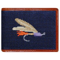 Fishing Fly Needlepoint Wallet in Navy by Smathers & Branson