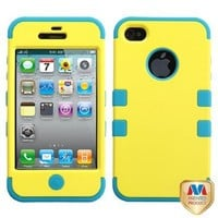 MYBAT IPHONE4AVHPCTUFFSO011NP Premium TUFF Case for iPhone 4 - 1 Pack - Retail Packaging - Yellow/Tropical Teal