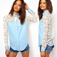 Elegant Lapel Denim Splice Lace Tops