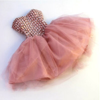 Pink Strapless Chiffon Homecoming Dresses,Lace-up Rhinestone Homecoming Dress